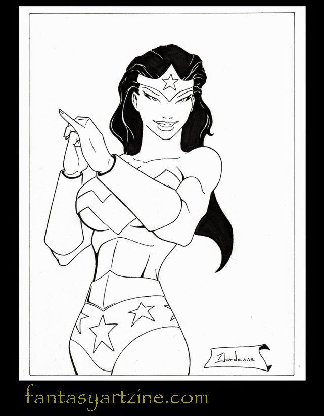 Wonder Woman silver bracers comicbook art pinup