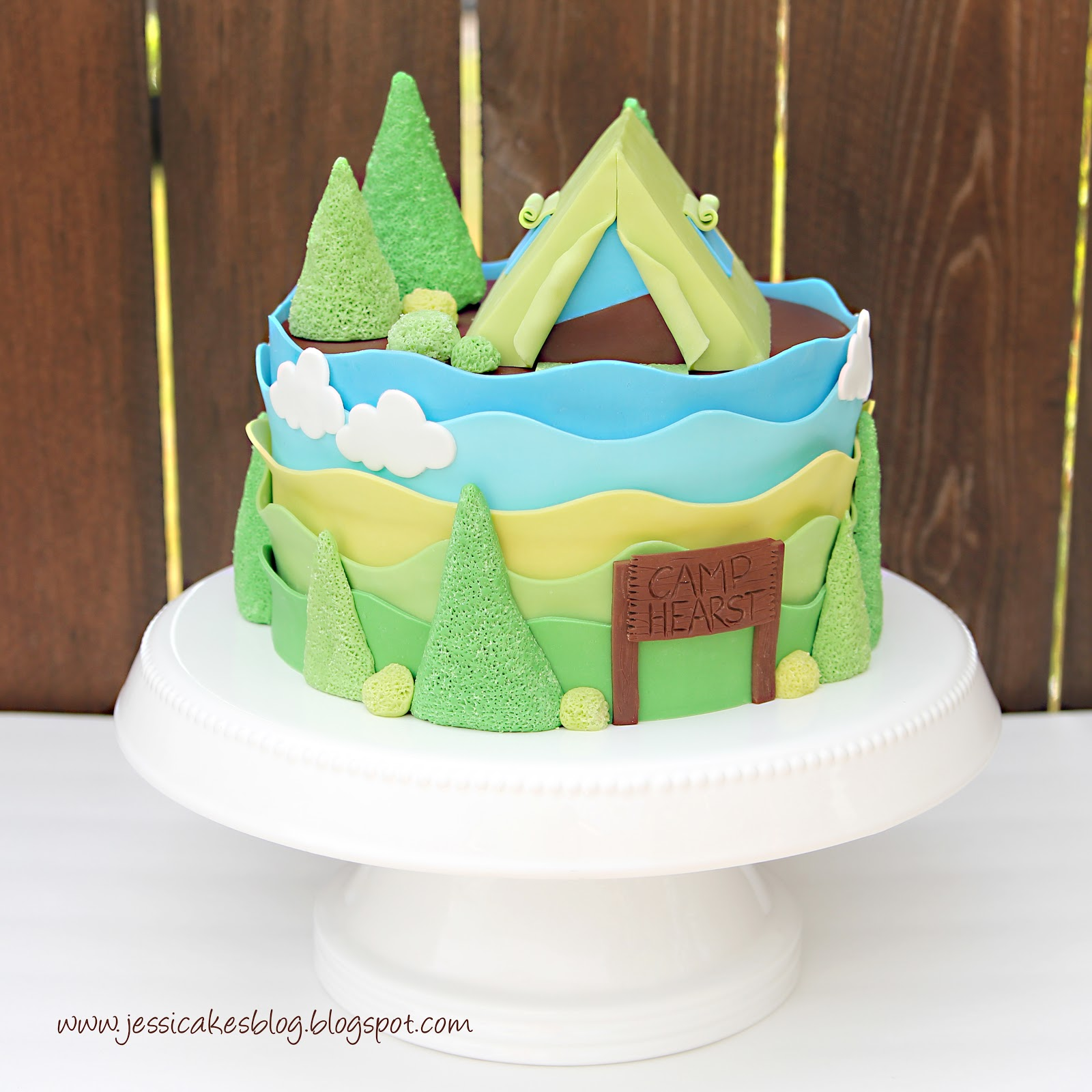 Camping Tent Baby Shower Cake and Tutorial