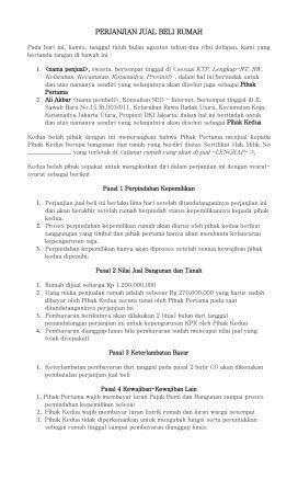 Surat Perjanjian Tanah'