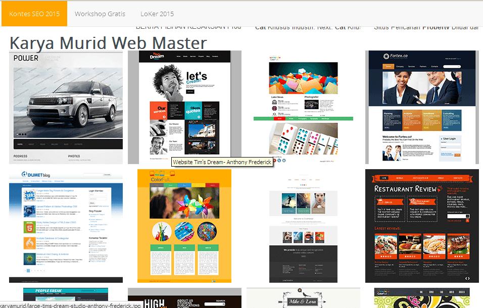 hasil karya paket kursus website atau webmaster