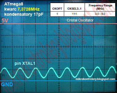 ATmega8 kwarc 7.3728MHz, CKOPT=1 CKSEL3..1=111 - Obraz sygnału oscylatora na pinie XTAL1