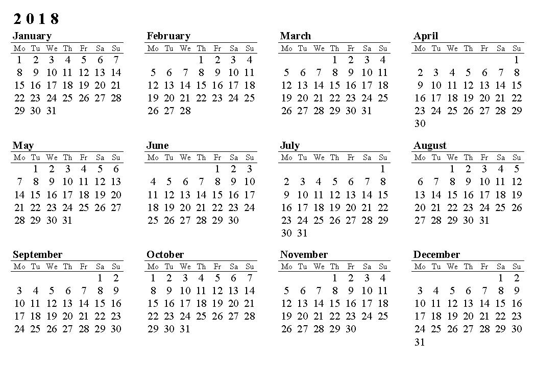free 2018 yearly calendar printable