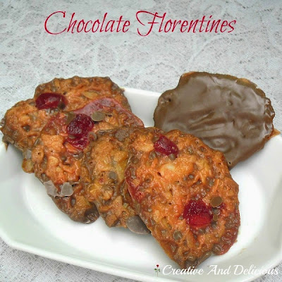 Chocolate Florentines - easy to make and inexpensive. #Florentines #Candy #Cookies #SweetTreats