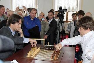 Le blitz entre Magnus Carlsen et Alexander Morozevich - Photo © RussiaChess
