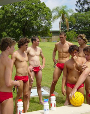 Group of hot guys in their red Speedos