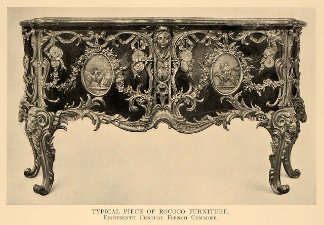 1918 Print Rococo Furniture 18th Century French Commode