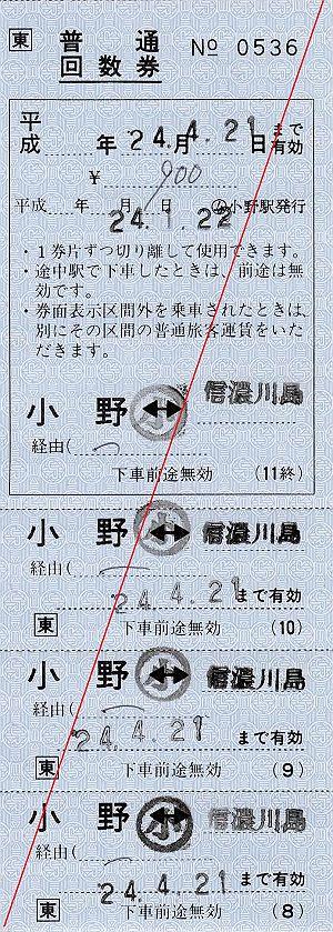 JR東日本 小野駅 常備軟券乗車券5 補充式普通回数乗車券