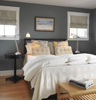 diseño dormitorio color gris amarillo