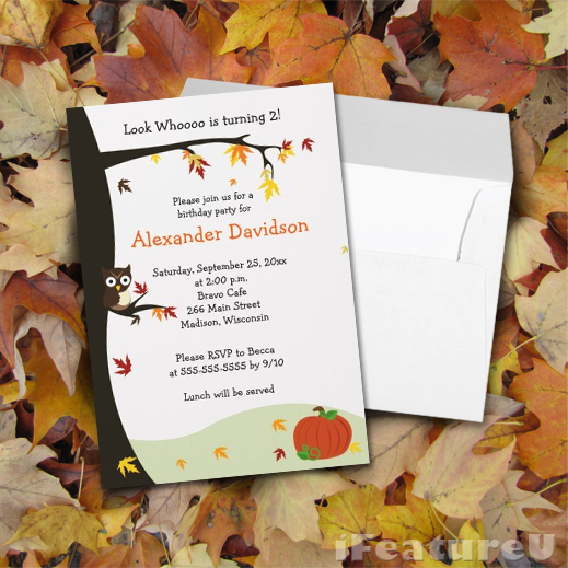I feature u autumn owl in tree birthday invitations autumn owl in tree birthday invitations filmwisefo