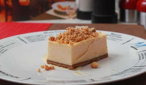 M's Seafood Bistro cheesecake proved palatable but very rich