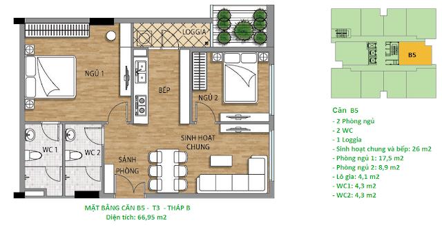 Căn hộ B5 diện tích 66,95 m2 tầng 3 Valencia Garden