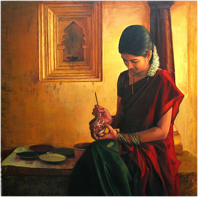 Dravidian woman beautiful oil paintings by - Beautiful woman painting hd ...