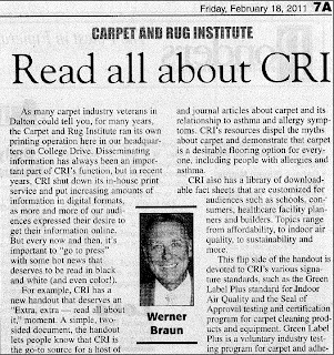 Read All About Carpet and Rug Institute (CRI): Werner Braun