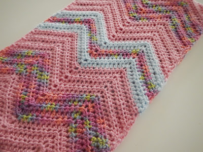 Apple Blossom Dreams Chevron Infinity Scarf In Hdc Pattern And