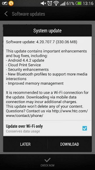 HTC One Android 4.4.2 KitKat rolling out in India.
