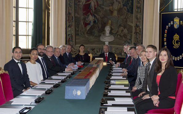 King Carl Gustaf and Crown Princess Victoria of Sweden attended the meeting of the Informational Cabinet was held at the Royal Palace in Stockholm