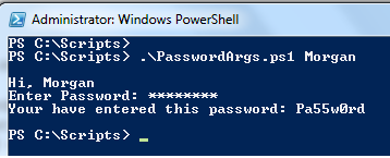 Ask password from user in Powershell script
