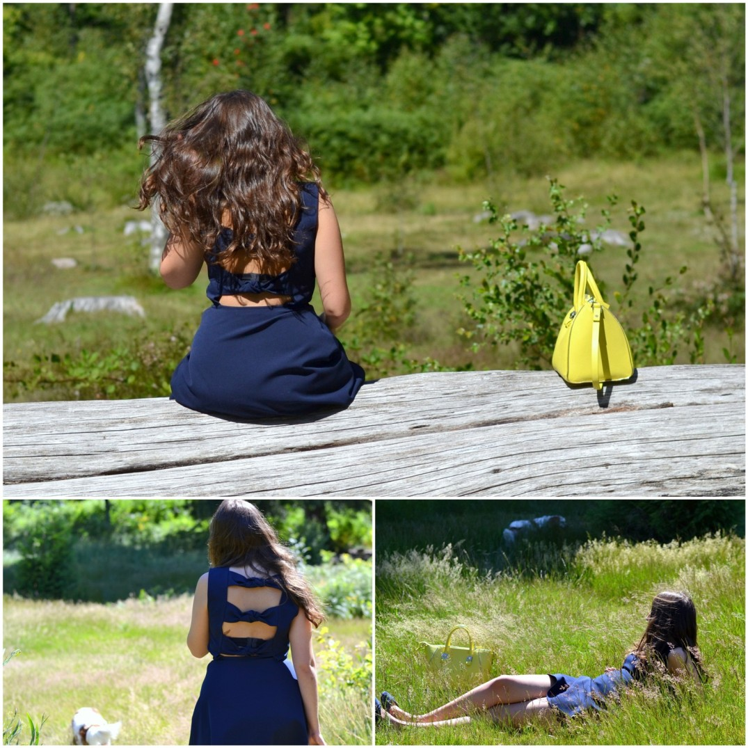 forest, blue dress, backless, yellow bag, bolso amarillo