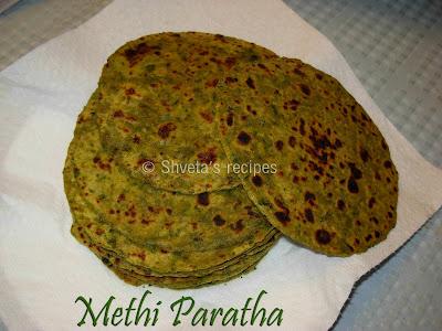 methi paratha (fenugreek leaves indian bread)