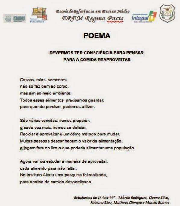 """Famosos Escola Regina Pacis - Palmeirina/PE: Projeto """"Alimentação Saudável  OI46"""