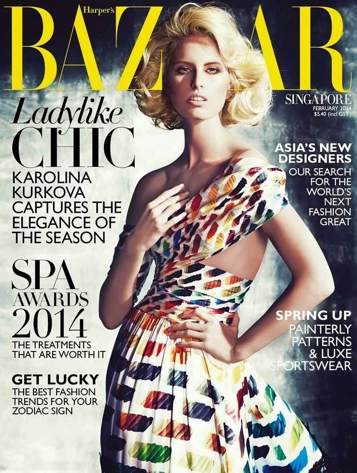 Karolina Kurkova Magazine Photoshoot Pics for Harper's Bazaar Magazine Singapore February 2014