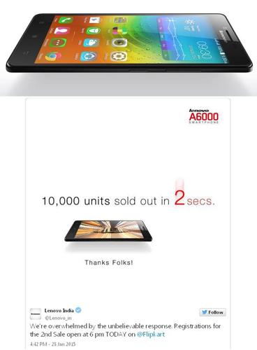 Di India, Lenovo A6000 Terjual 10.000 Unit Hanya Dalam 2 Detik