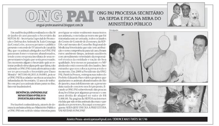 ONG PAI processa Secretário da SEPDA