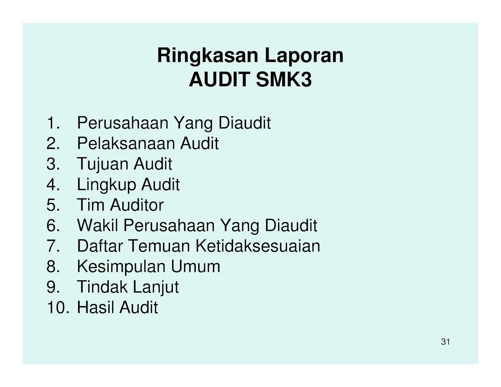 Contoh Audit Sistem Manajemen K3 Smk3 Toak Senpai
