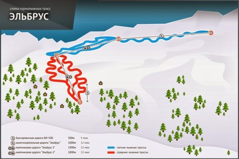 схема горнолыжных трасс Эльбрус Северный Кавказ