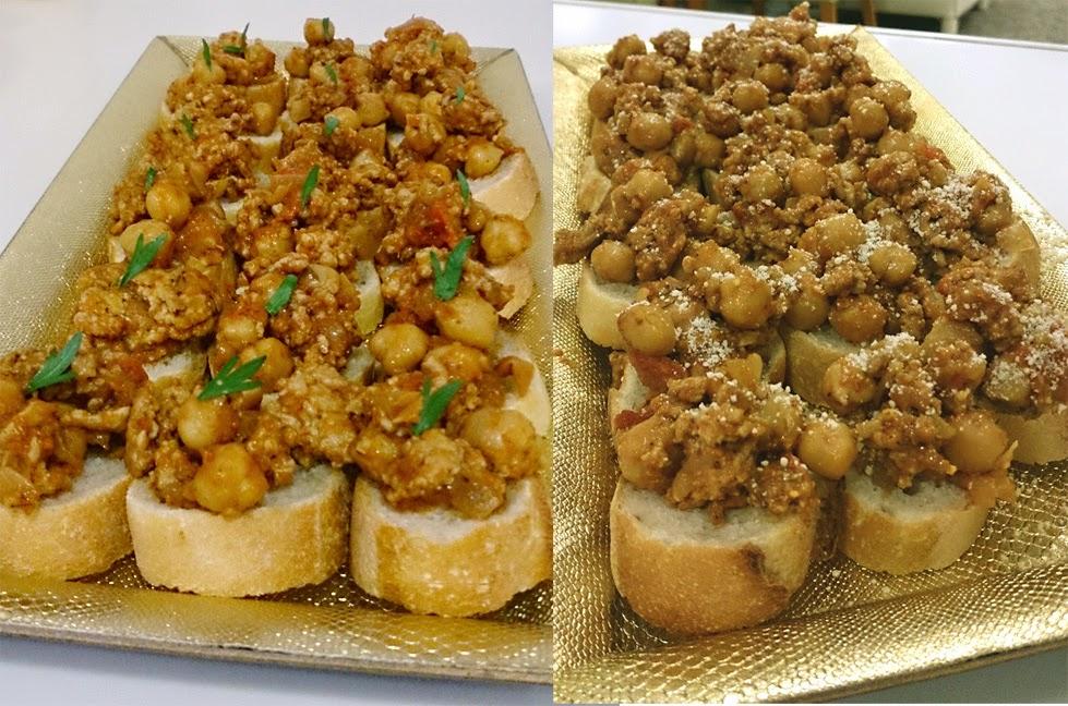 近藤シェフ 港区(白金高輪)に出張料理:お仲間へ感謝の気持ちをパーティーで チリトマトビーンズのブルスケッタ ひよこ豆