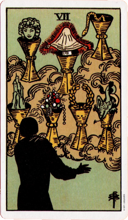 Original Rider Waite Tarot, Seven of Cups,