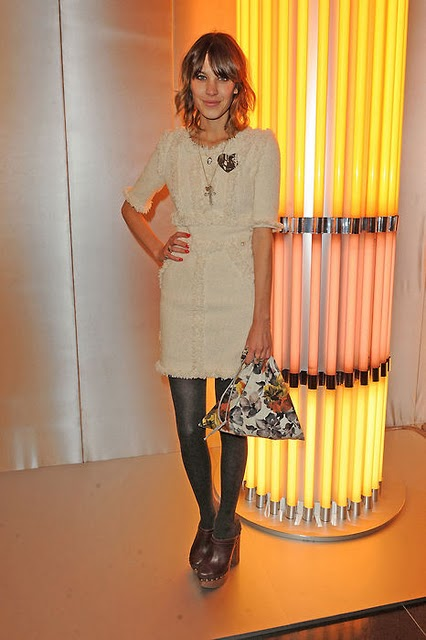 alexa chung wearing a dress with laces