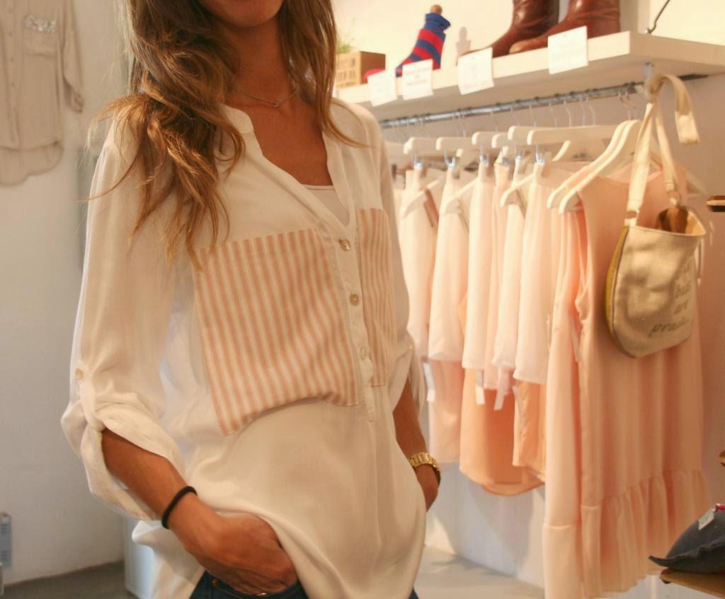 white&one, camisa,bolsillo de rayas, seda, moda,rosa y blanco
