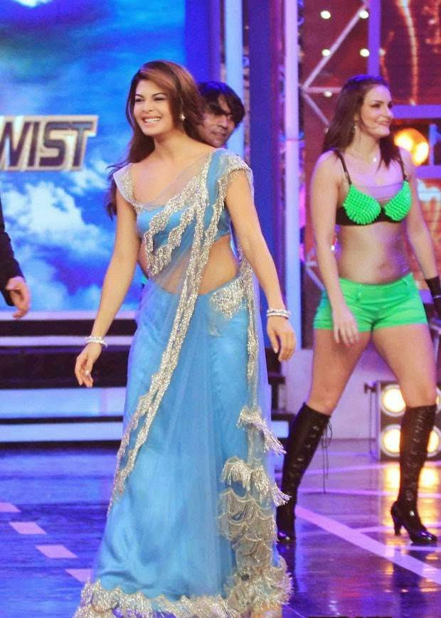 Jacqueline Fernandez Low Waist Designer Saree Photos