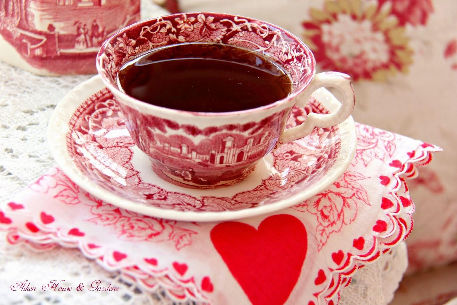 Red Transferware Valentineu0027s Tea