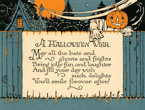 Vintage pumpkin-head ghost crawls over fence in the night illustrating a poem
