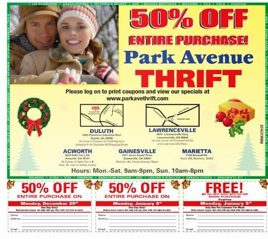 "Receive weekly coupons by texting ""Thrift"" to Every Wednesday is Senior Citizens Day. Receive 25% and 50% off if you are 55 or older. Some exclusions apply. Sunday is VIP customer appreciation day. Shop during the week and receive a blue coupon for 25% and 50% off everything on Sunday. SUMOTEXT VIP Alerts (max20msg/mo)."