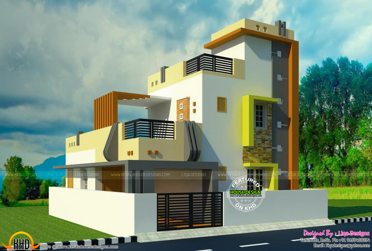 288 sq yd tamilnadu contemporary home kerala home design for Tamilnadu home design photos