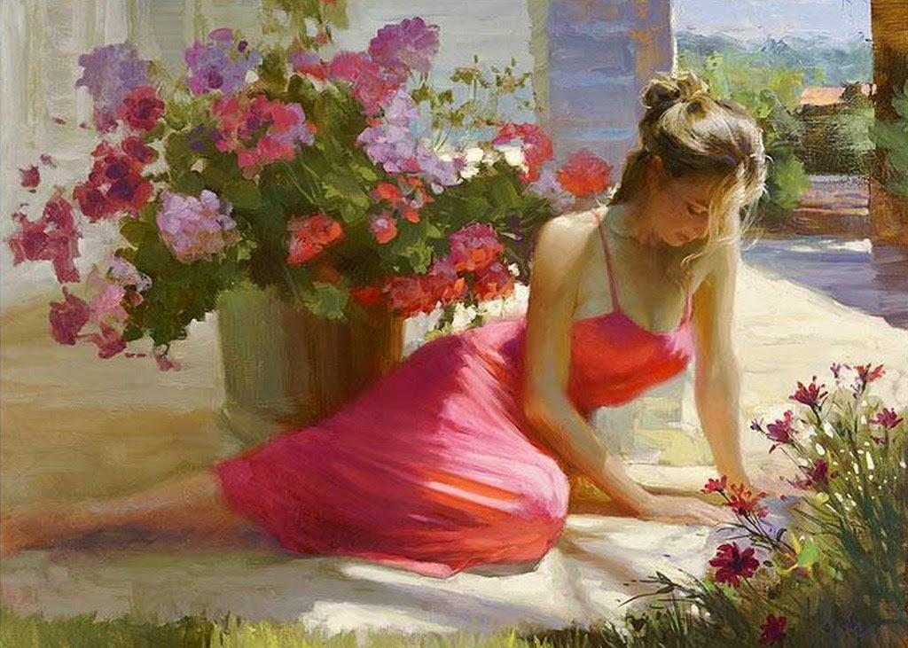 Im genes arte pinturas flores con mujeres en jardines - Fotos jarrones con flores ...