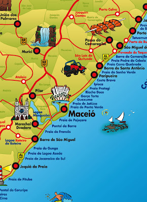 Mapa do litoral de Maceió