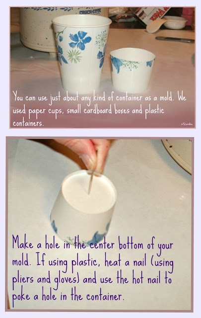 using paper cups as candle molds