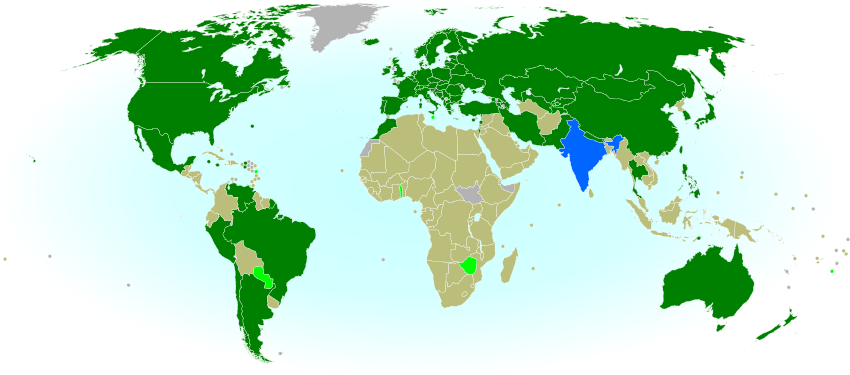 Map of countries with teams attending the 2014 Winter Olympics in Sochi, Russia, including seven countries making their Winter Olympics debut (highlighted), and one that was suspended but reinstated during the games.