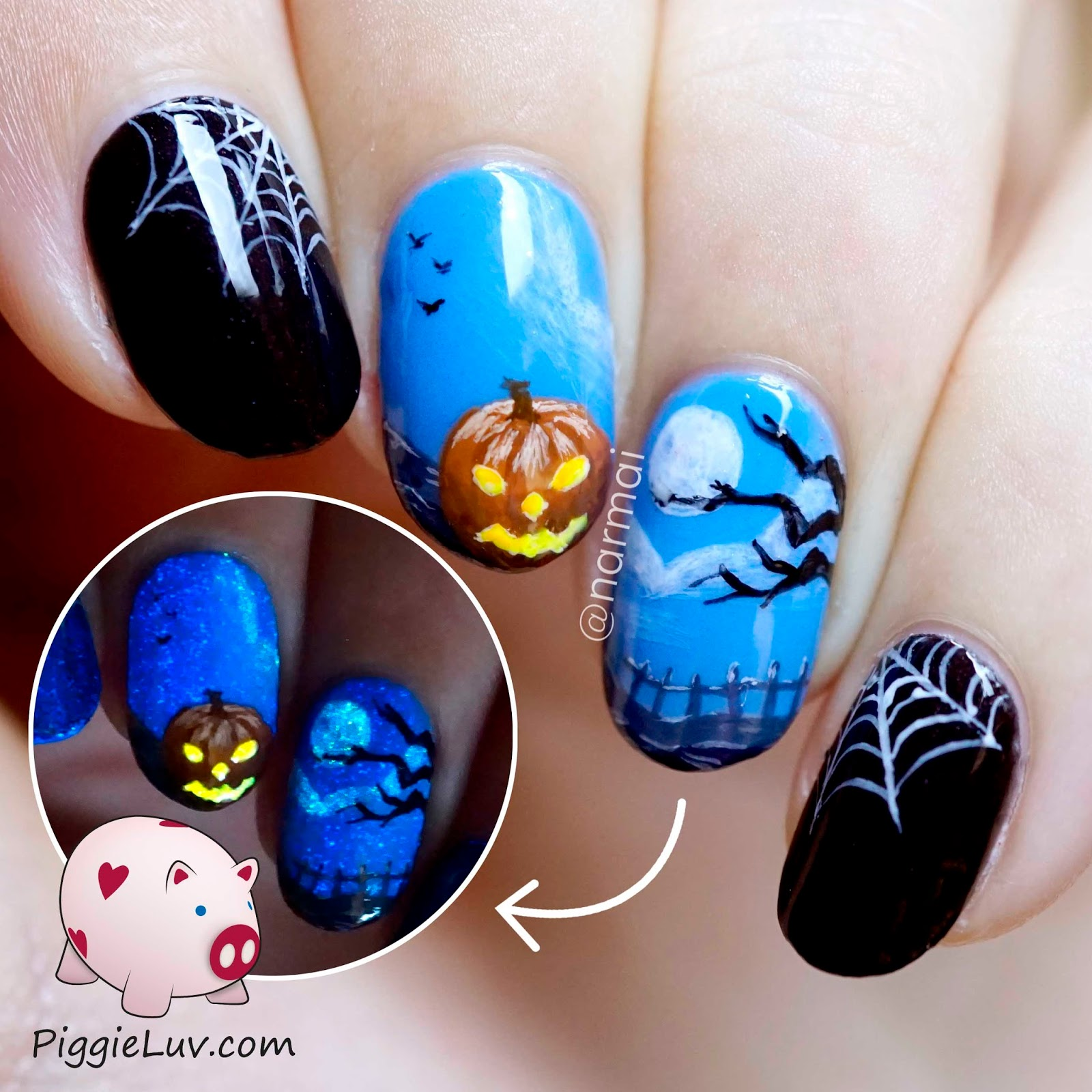 PiggieLuv: Happy Halloween nail art - HPB linkup