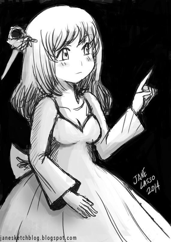 Sketch de chica manga en blanco y negro