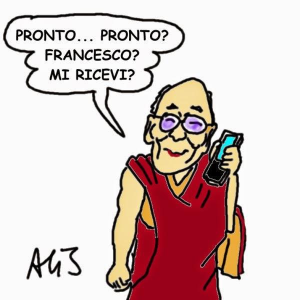 Dalai Lama, papa francesco, cina, diplomazia, vignetta, satira