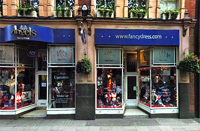 Current view of Angels costume shop, former Berman's and Nathan in Candem, London.