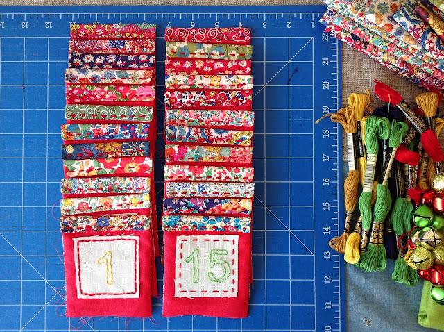 Liberty advent calendar pockets lined up