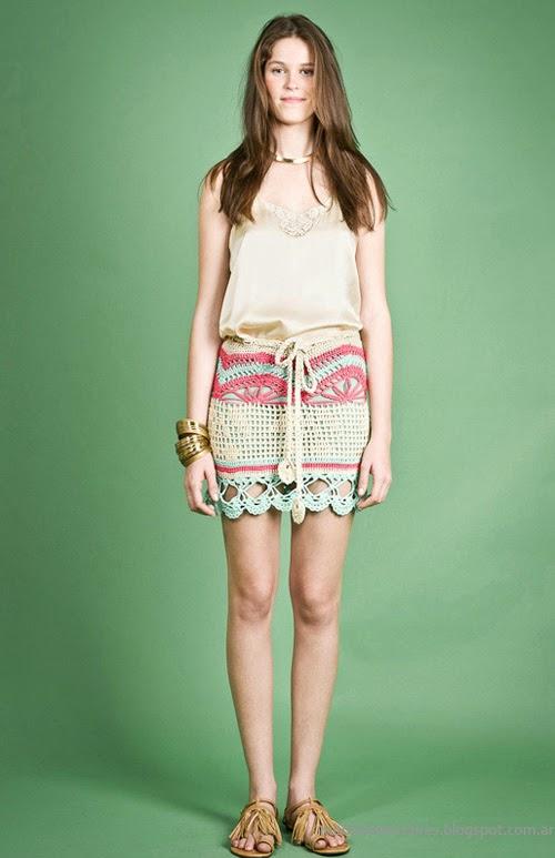 Moda Tejidos verano 2014. Agostina Bianchi minifaldas tejidas verano 2014 colección.