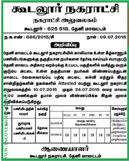 Gudalur Municipality Recruitment (www.tngovernmentjobs.in)