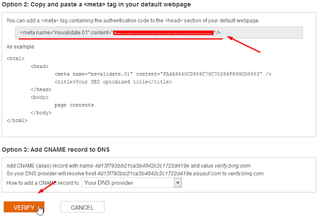 salin meta tag dan klik verify